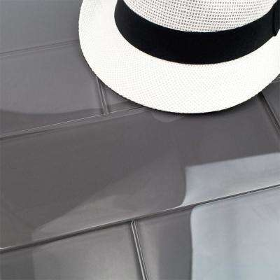 Contempo Smoke Gray Polished 4 in. x 12 in. x 8 mm Glass Subway Tile