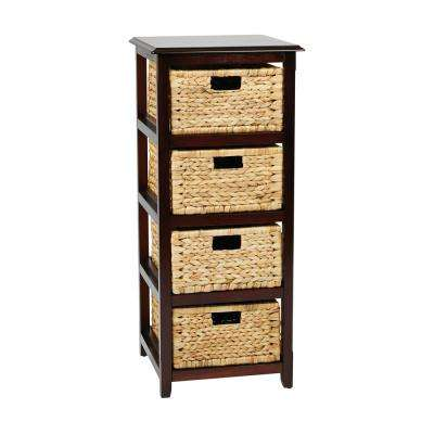 Seabrook Espresso 4-Tier Storage Unit with Natural Baskets