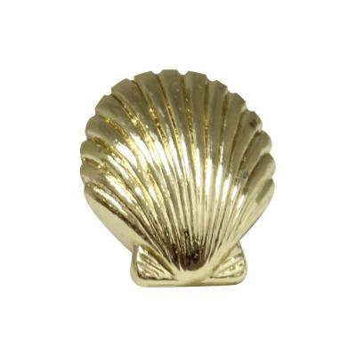 1-3/8 in. Polished Gold Seashell Cabinet Hardware Knob