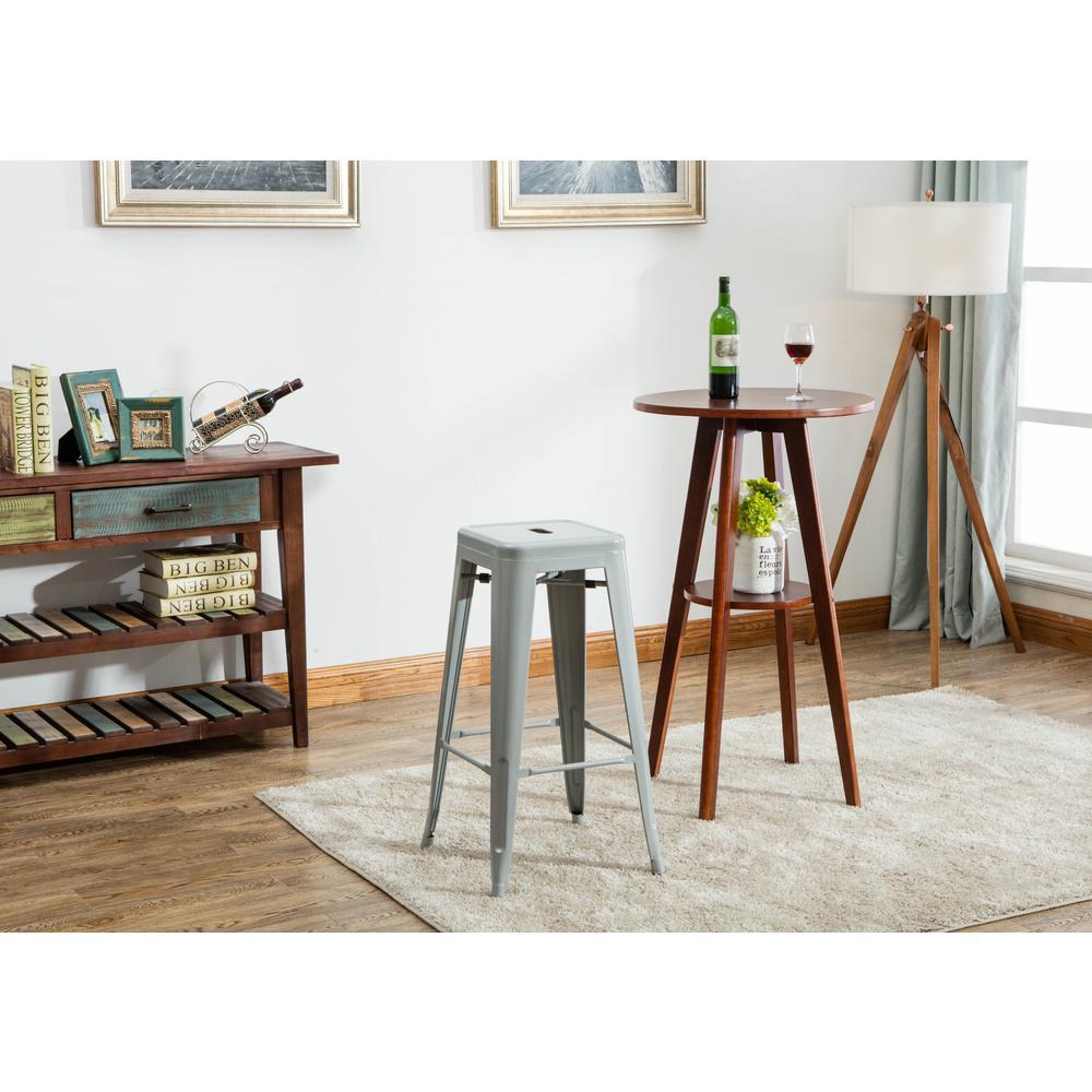 Stackable Grey Indoor/Outdoor Metal Stool