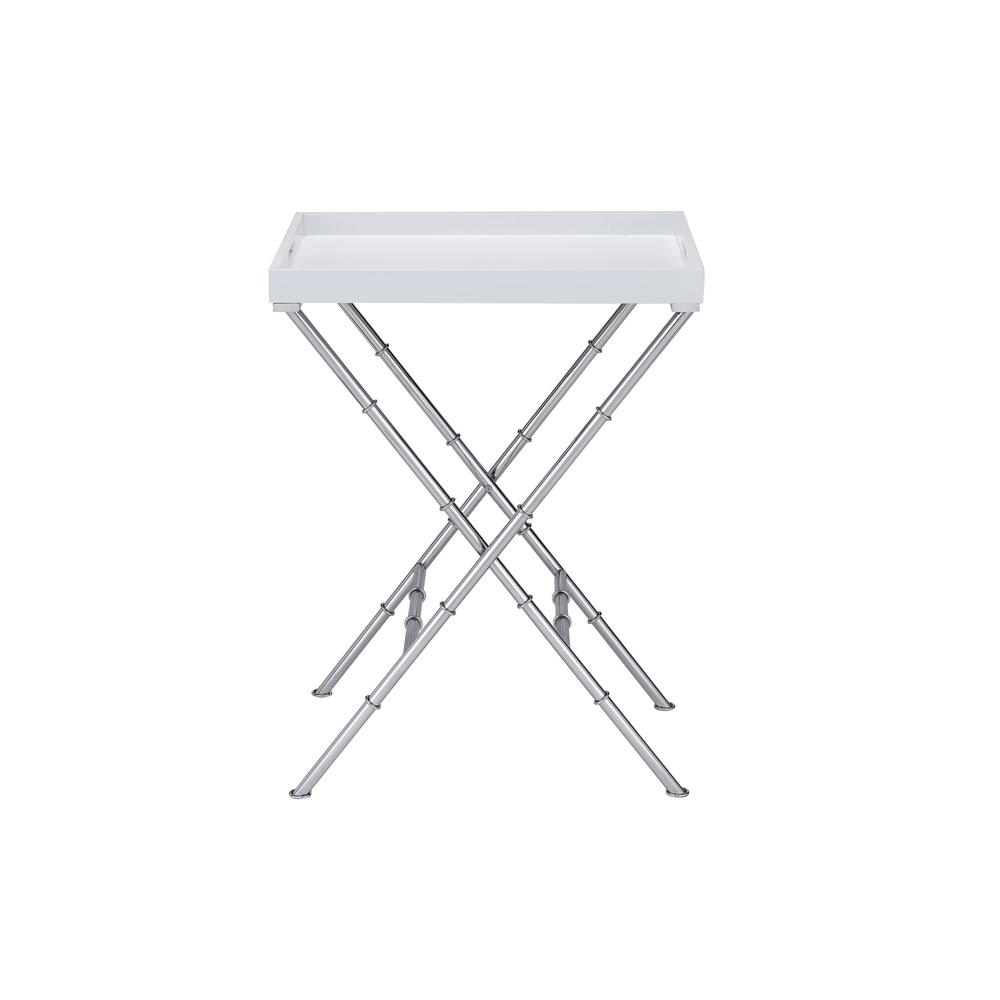 Acme Furniture Lajos White And Chrome Tray Side Table