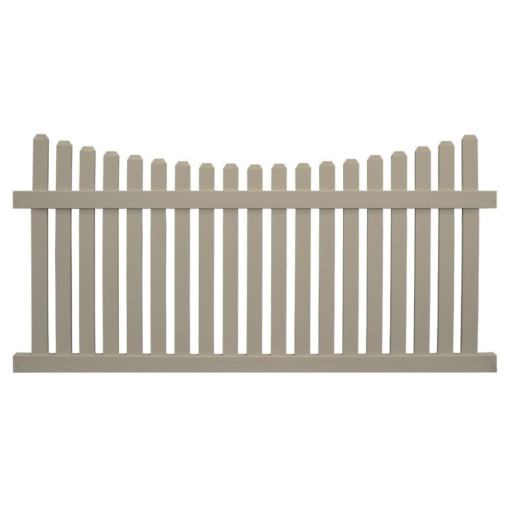 Weatherables Richmond 5 ft. H x 6 ft. W Khaki Vinyl Picket Fence ...