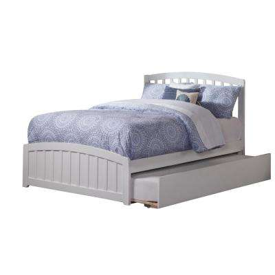 Richmond White Full Platform Bed with Matching Foot Board with Twin Size Urban Trundle Bed