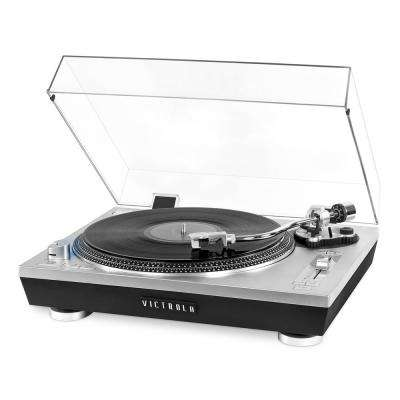 Pro Series USB Record Player with 2-Speed Turntable and Dust Cover