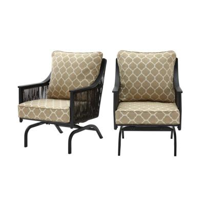 Bayhurst Black Wicker Outdoor Patio Rocking Lounge Chair with CushionGuard Toffee Trellis Tan Cushions (2-Pack)