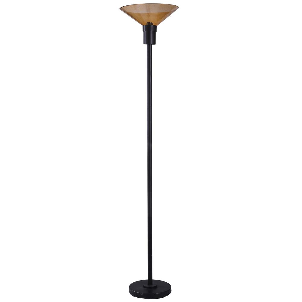 Stylecraft 73 In Black Floor Lamp With Amber Seeded Glass Shade