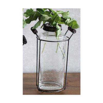Dahlia 9.5 in. Glass and Metal Decorative Vase