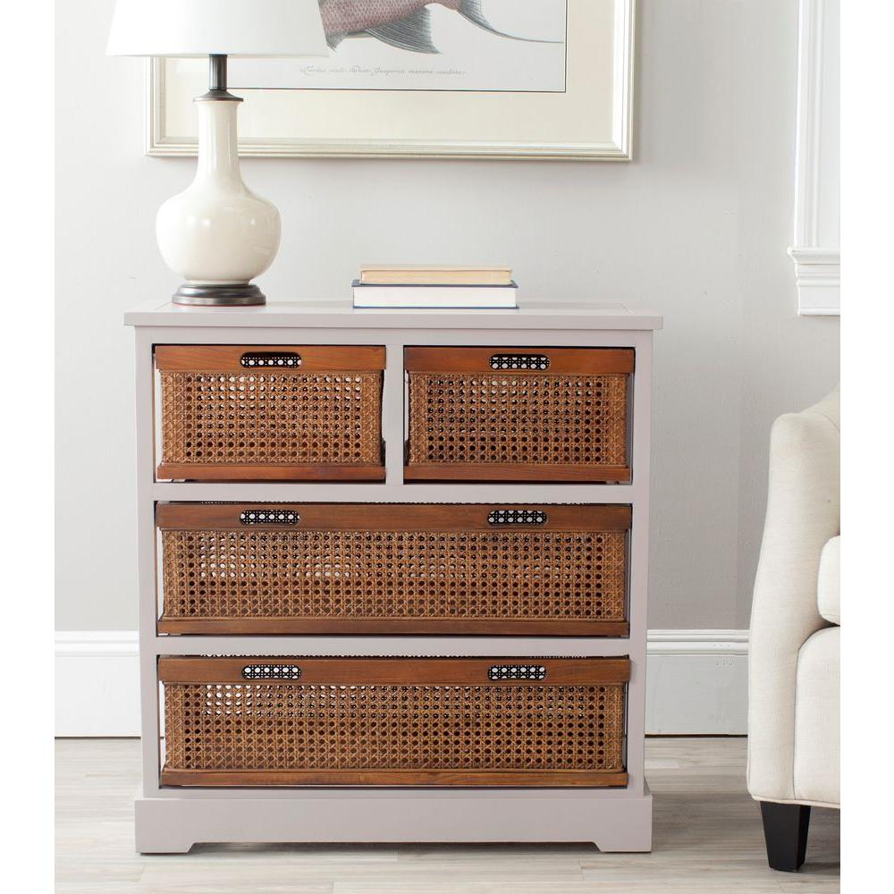 Safavieh Storage Cabinet 4 Cane Basket Drawers Natural Pine Frame Gray  Finish