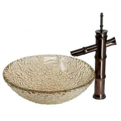 Light Brown Fawn Pebble Glass Vessel Sink with Bamboo Vessel Filler Drain Combo Set in Oil Rubbed Bronze