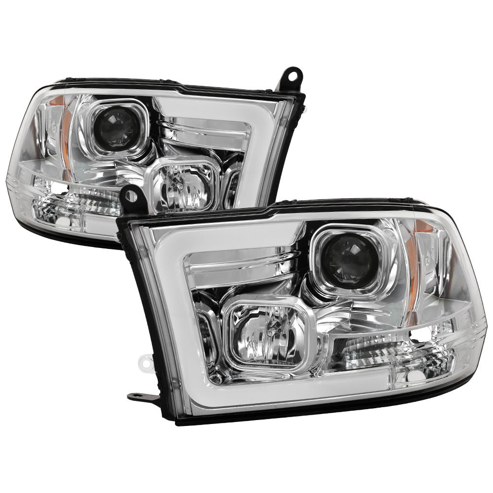 Spyder Auto Dodge Ram 1500 09-16 / Ram 2500/3500 10-16 Version 2 Projector  Headlights - Halogen Model Only - Light Bar DRL - Chrome