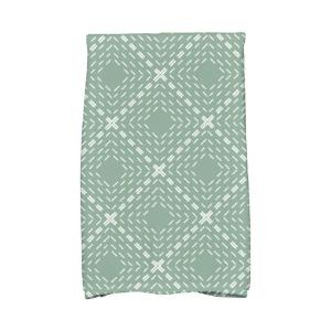 16 In X 25 In Green Dots And Dashes Geometric Print Kitchen Towels