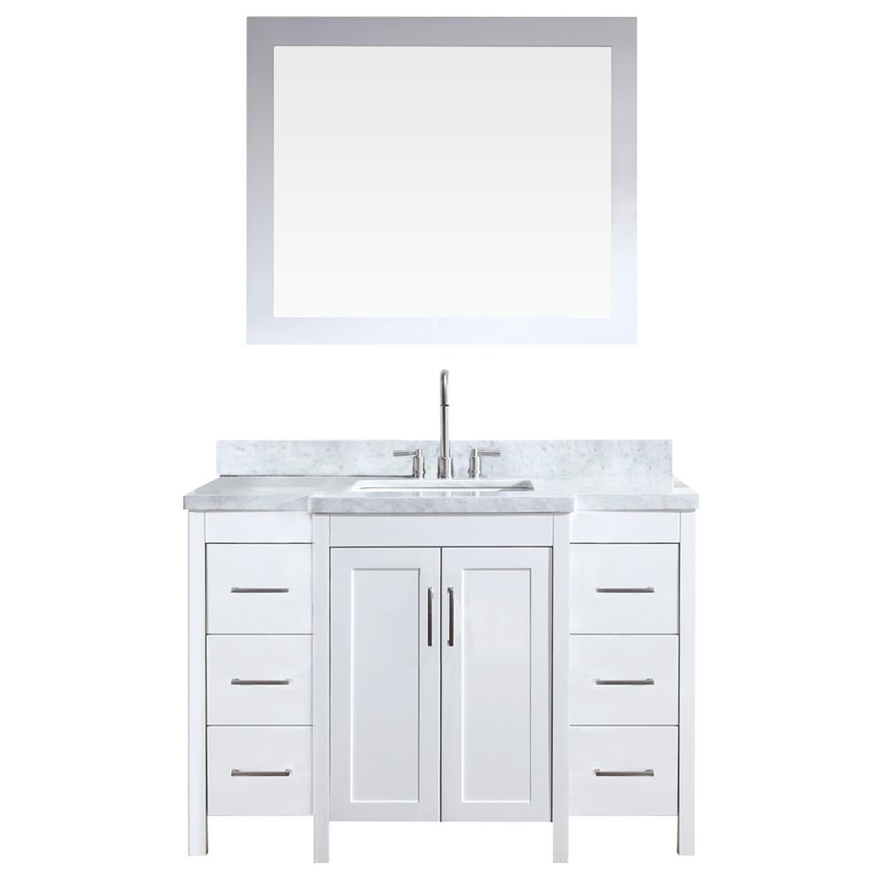 Ariel Hollandale 49 in. Bath Vanity in White with Marble Vanity Top in Carrara White with White Basin and Mirror