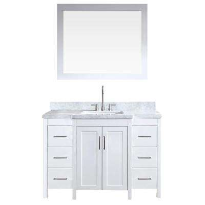 Hollandale 49 in. Bath Vanity in White with Marble Vanity Top in Carrara White with White Basin and Mirror
