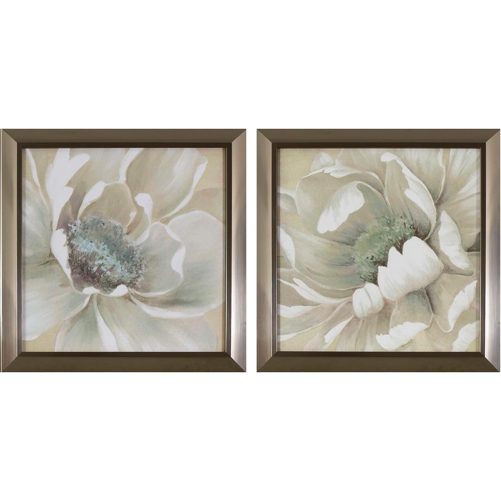 Superbe Antiqued White Flowers Printed Framed Wall Art