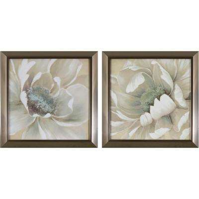 14 in. x 14 in. Antiqued White Flowers Printed Framed Wall Art (Set of 2)