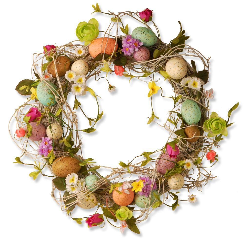 National Tree 18 in. Garden Accents Easter Egg Wreath, Mixed