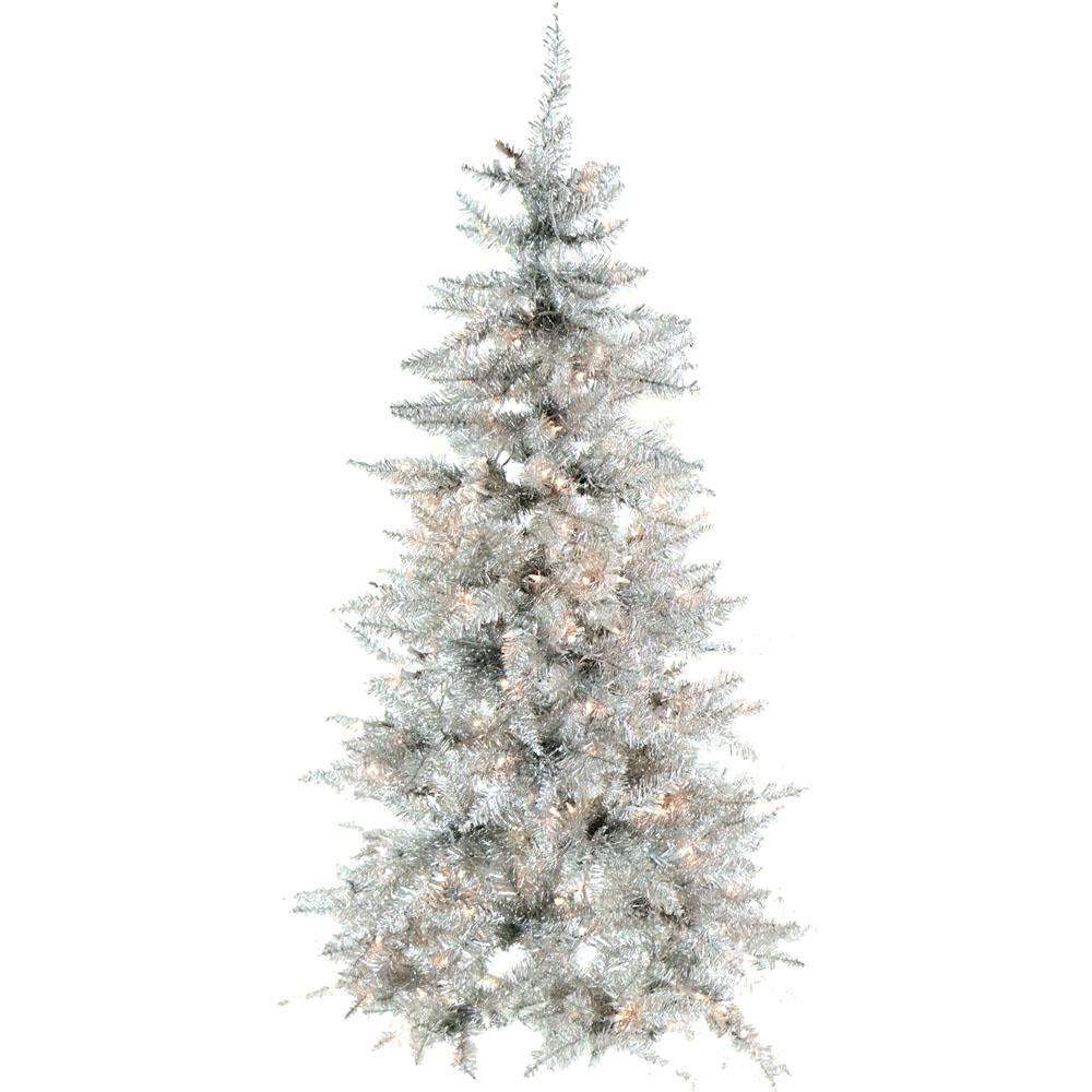 Fraser Hill Farm 5 Ft Festive Silver Tinsel Christmas Tree With Clear Led Lighting