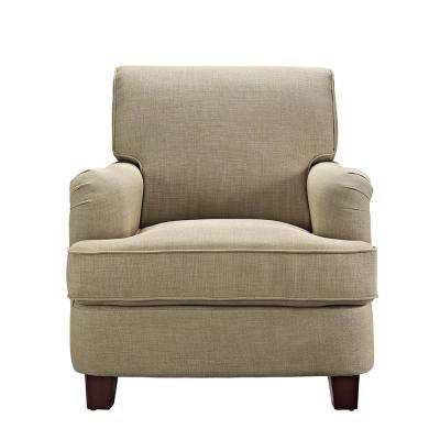 Emmy Rolled Top Club Oatmeal Chair with Nail-Heads