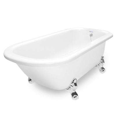 67 in. AcraStone Acrylic Classic Clawfoot Non-Whirlpool Bathtub in White with Large Ball and Claw Feet in Chrome