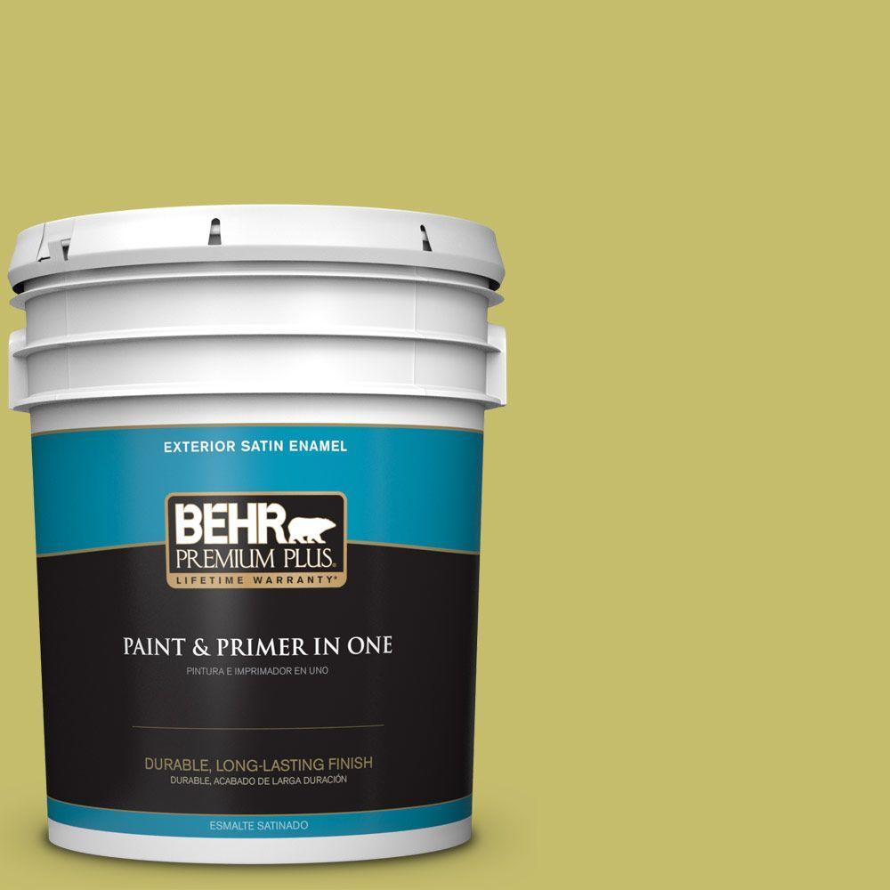 5-gal. #P350-5 Go Go Lime Satin Enamel Exterior Paint