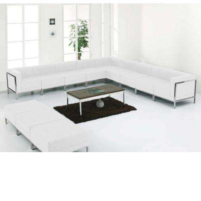 Hercules Imagination Series White Leather Sectional & Ottoman Set, 12 Pieces