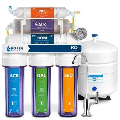 Alkaline Under Sink Reverse Osmosis Water Filtration System -10 Stage Mineral Filter - pH+, Antioxidant w/ Clear Housing