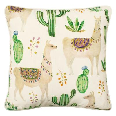 Andes White and Green and Beige Floral Down 18 in. x 18 in. Throw Pillow