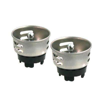 1-1/2 in. Stainless Steel Junior Duo Strainer / Stopper Replacement Basket for Bar and Prep Sinks Drains (2-Pack)