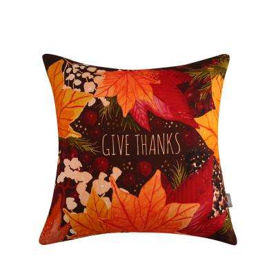 Give Thanks Reversible 20 in. x 20 in. Decorative Pillow