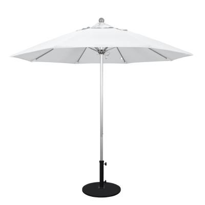 9 ft. Silver Anodized Aluminum Market Fiberglass Ribs Push Lift Patio Umbrella in Natural Sunbrella