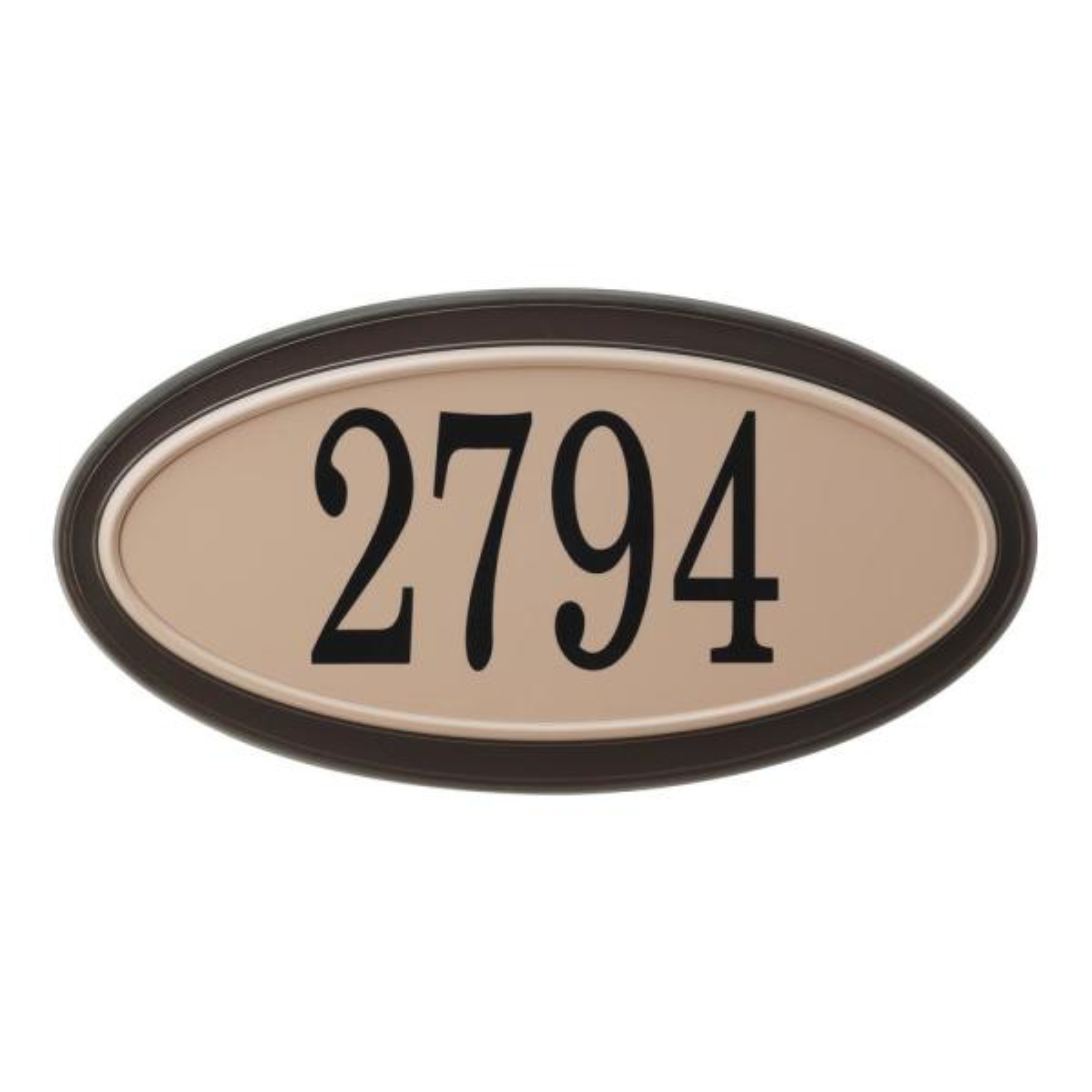 Classic Oval Plastic Moka / Sand Address Plaque