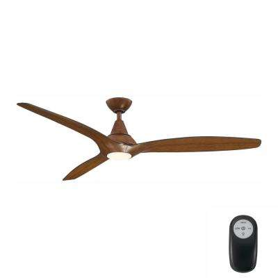 Tidal Breeze 60 in. LED Indoor Distressed Koa Ceiling Fan with Light Kit and Remote Control