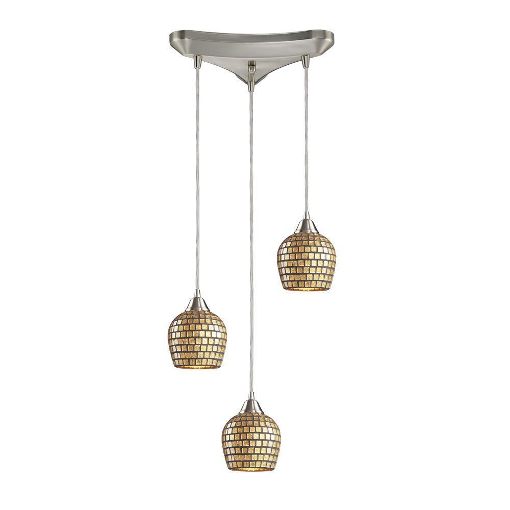 Titan Lighting Fusion 3-Light Satin Nickel Pendant with Gold Mosaic Glass