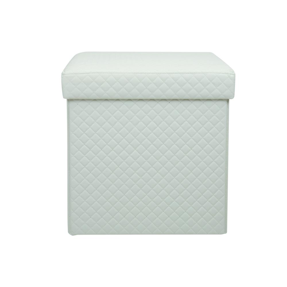 Simplify White Quilted Storage Ottoman F 0670 White The Home Depot