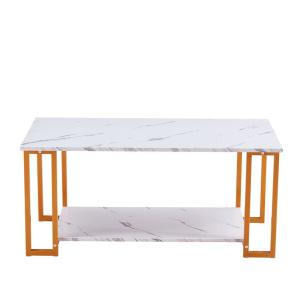 39.37 in. MDF Rectangle Gold Modern Coffee Accent Table Living Room