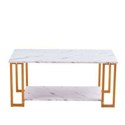 Lucky One 39 37 In Mdf Rectangle Gold Modern Coffee Accent Table Living Room Dn W37022709 The Home Depot