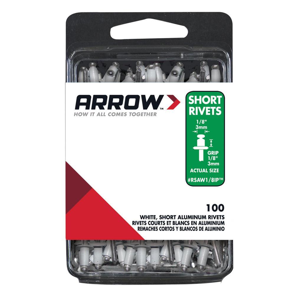2-Pack Arrow Fastener RSAW1//8IP Short White Aluminum 1//8-Inch Rivets 100-Pack