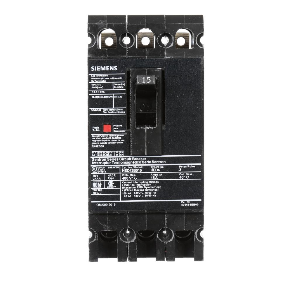 siemens 15 amp 3 pole type ed 42 ka circuit breaker hed43b015 the home depot. Black Bedroom Furniture Sets. Home Design Ideas