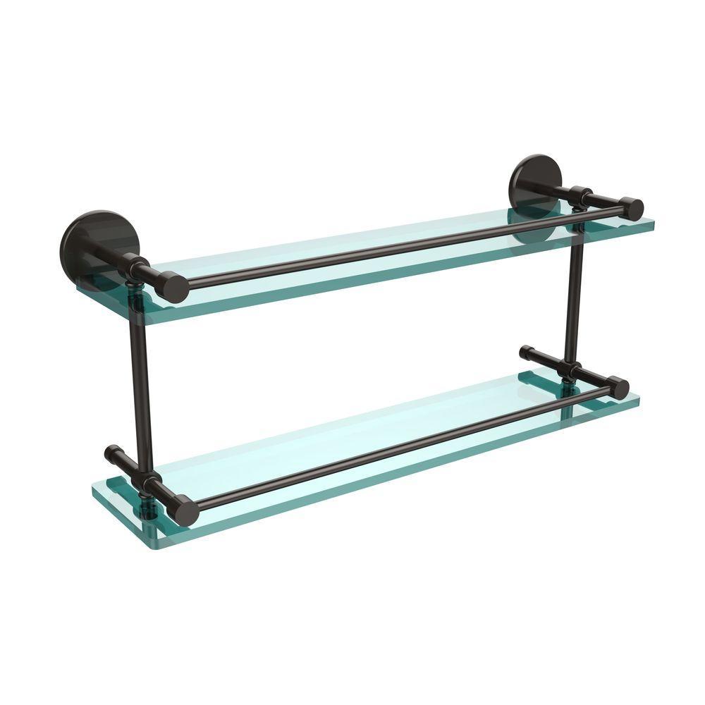 22 in. L  x 8 in. H  x 5 in. W 2-Tier Clear Glass Bathroom Shelf with Gallery Rail in Oil Rubbed Bronze