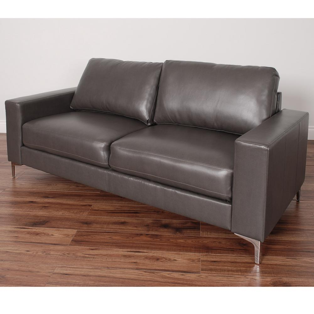Corliving Cory Contemporary Brownish Grey Bonded Leather Sofa