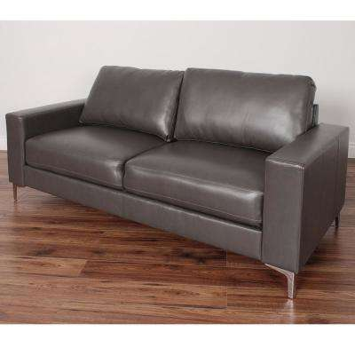 Cory Contemporary Brownish-Grey Bonded Leather Sofa
