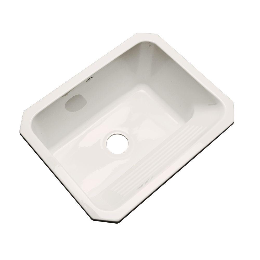 Thermocast Kensington Undermount Acrylic 25 in. Single Bowl Utility Sink in Bone
