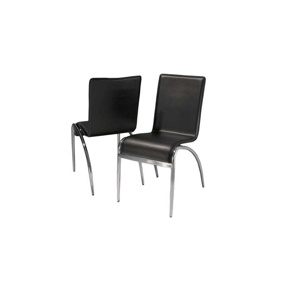 Kensington black pvc modern dining chairs set of 2