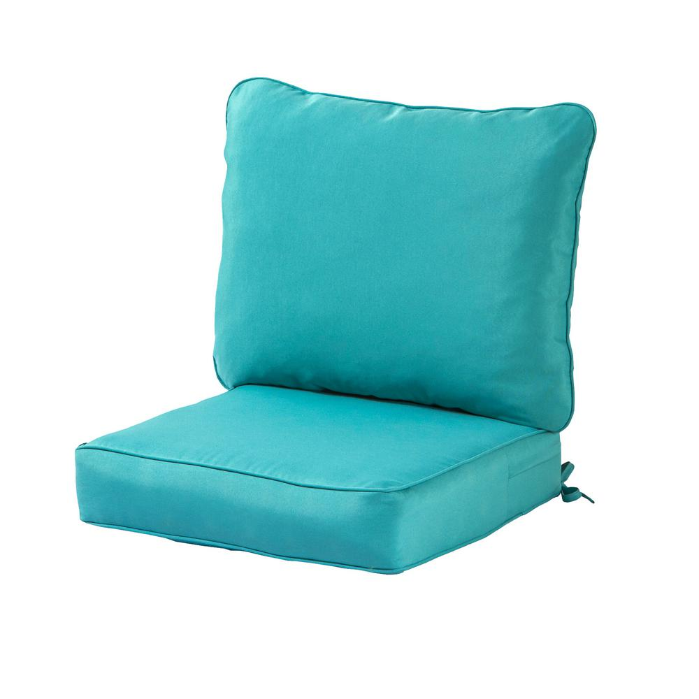 Greendale Home Fashions Solid Teal 2 Piece Deep Seating Outdoor
