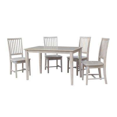 Mia 5-Piece Weathered Gray Solid Wood Dining Set with Mission Chairs