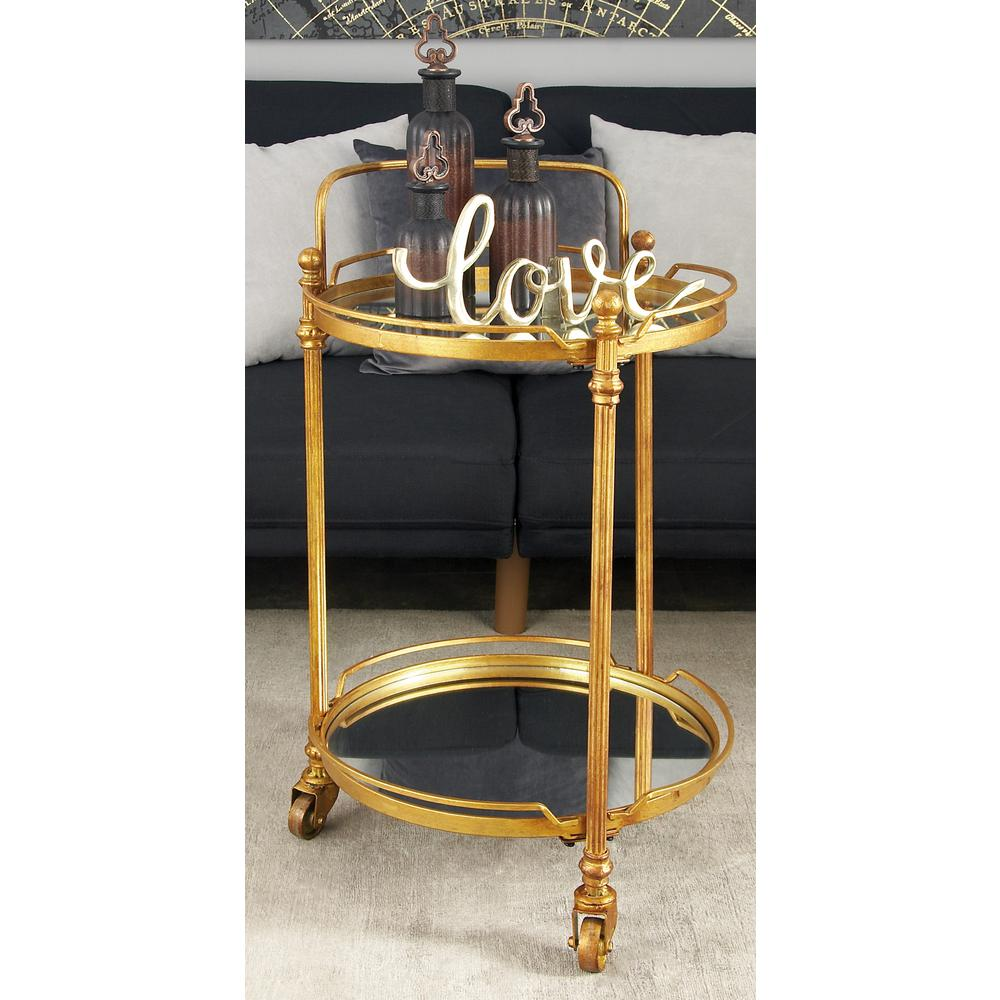 2-Tiered Iron and Glass Round 3-Wheeled Bar Cart in Tarnished Brass