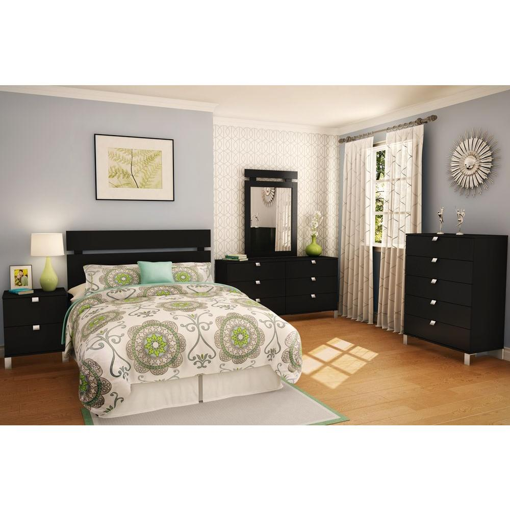 South Shore Spark 2-Drawer Nightstand in Pure Black