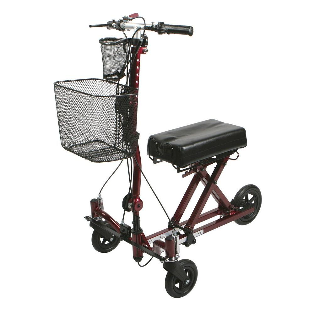 Medline Weil 3-Wheel Knee Walker in Burgundy