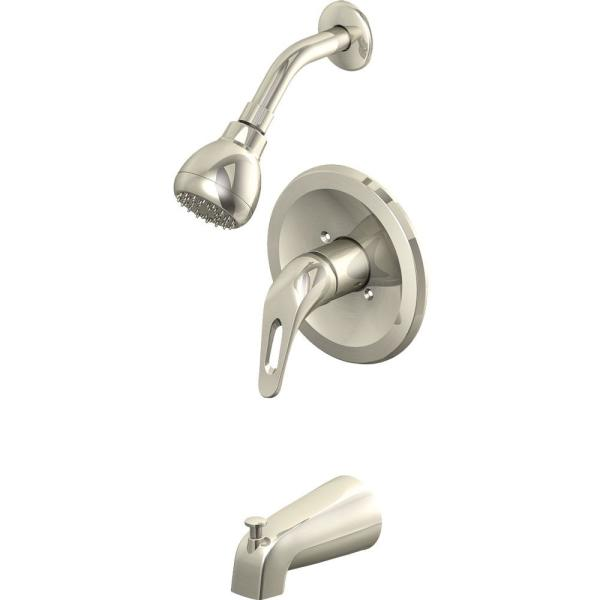 Prestige Collections 1-Handle Tub and Shower Trim Kit in Brushed Nickel with Slip-On Diverter Spout (Valve Not Included)