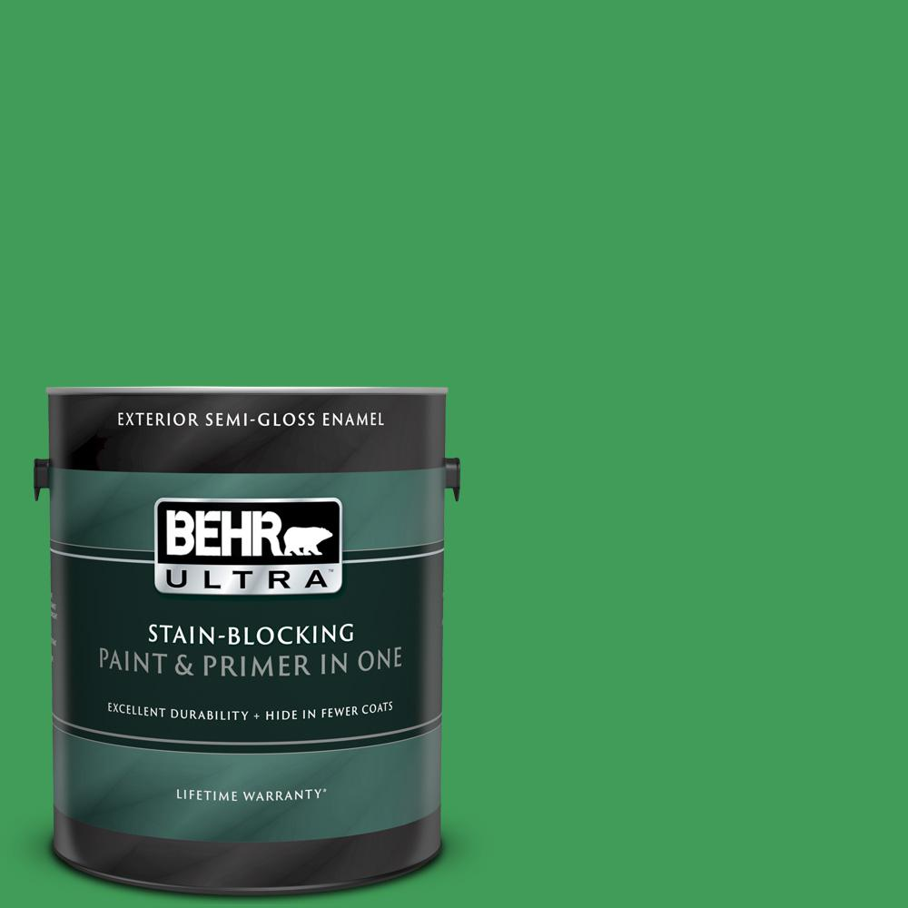 BEHR ULTRA 1 gal  #P400-6 Clover Patch Semi-Gloss Enamel Exterior Paint and  Primer in One